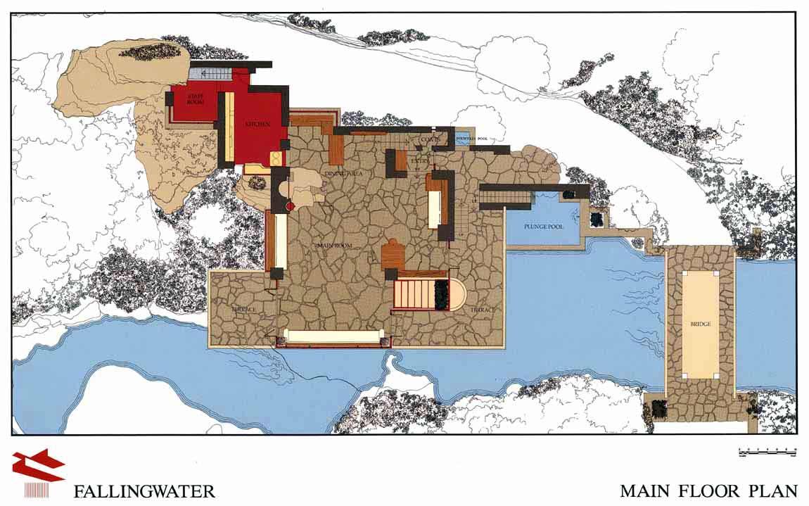 赖特流水别墅欣赏-流水别墅平面图