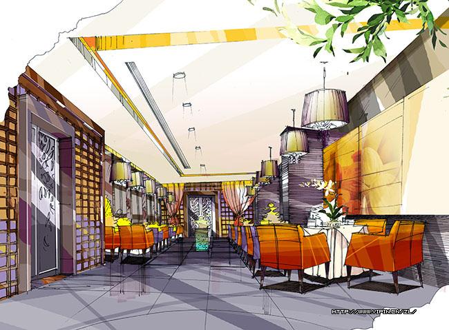 酒店室内设计手绘效果图