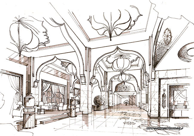 效果图/酒店室内设计手绘效果图