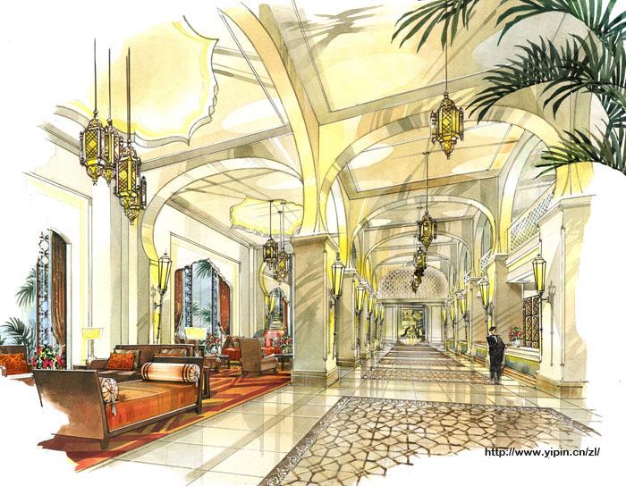 手绘酒店大堂 现代圣达菲2015款 现代圣达菲2008款高清图片