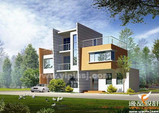 逸品室内设计有限公司2004-2005别墅外观设计作品选 棕红色的墙面砖